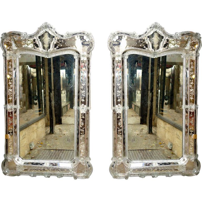 Pair Of Large Venetian Mirrors Carlos De La Puente Antiques