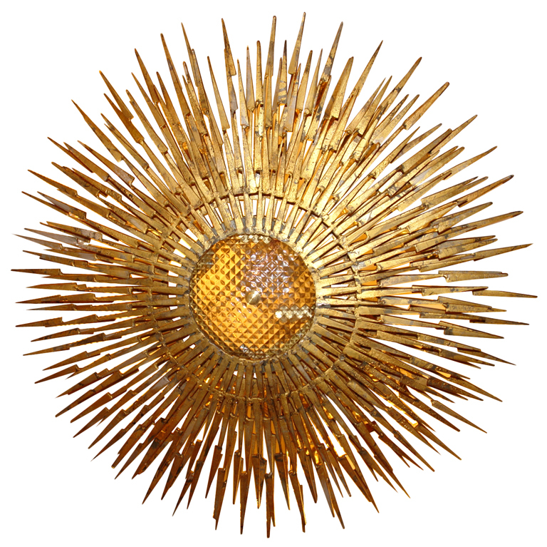 Large Sunburst Light Fixture