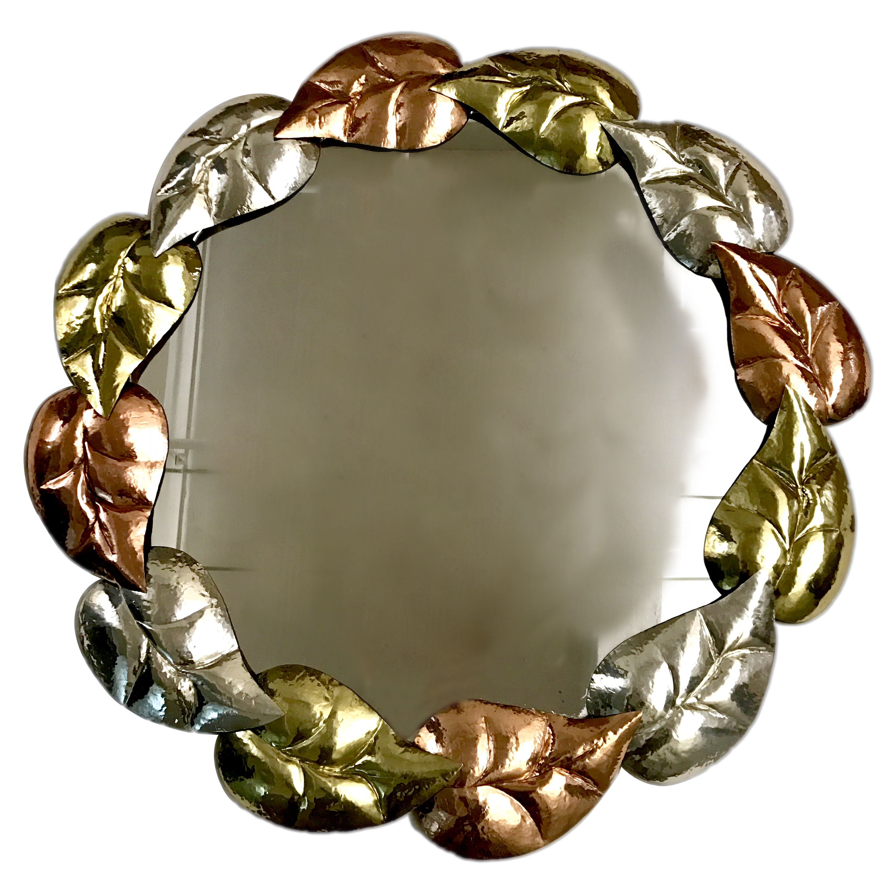 Pair Of Hammered Foliage Metal Mirrors