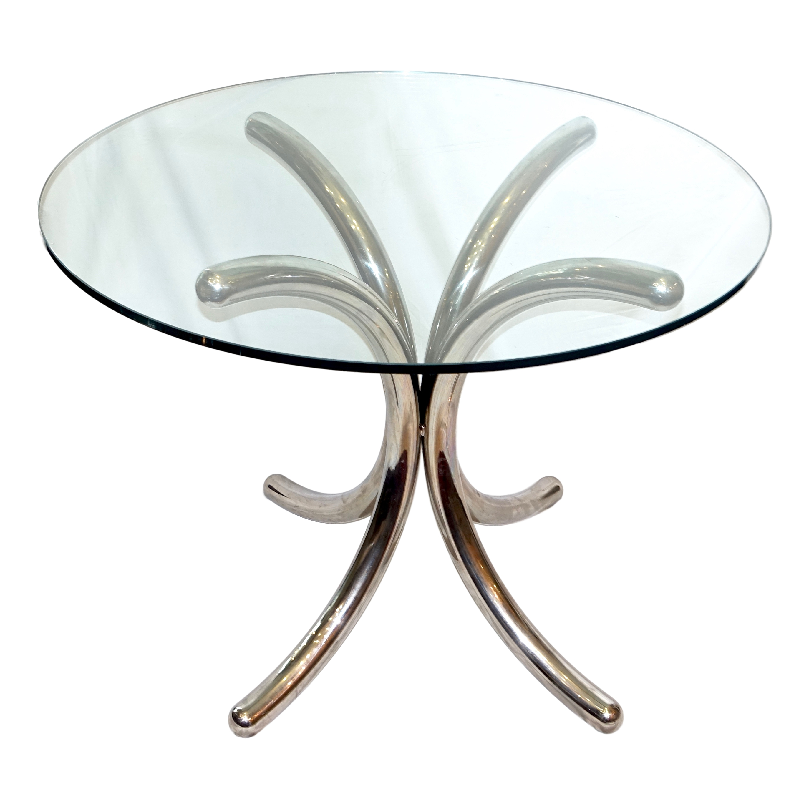 Midcentury Chrome And Glass Table Carlos De La Puente Antiques